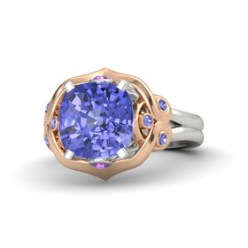 Cushion Tanzanite 14K White Gold Ring with Amethyst and Tanzanite