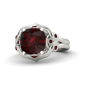 Cushion Red Garnet 14K White Gold Ring with Red Garnet