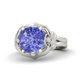 Cushion Tanzanite 14K White Gold Ring with White Sapphire