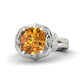Cushion Citrine 14K White Gold Ring with Diamond