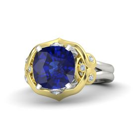 Cushion Blue Sapphire 14K White Gold Ring with Diamond