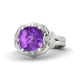 Cushion Amethyst 14K White Gold Ring with Diamond