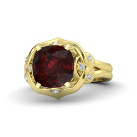 Cushion Red Garnet 14K Yellow Gold Ring with Diamond