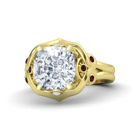Cushion Moissanite 14K Yellow Gold Ring with White Sapphire and Red Garnet