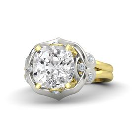 Cushion White Sapphire 14K Yellow Gold Ring with Diamond