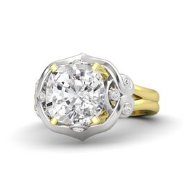 Cushion White Sapphire 14K Yellow Gold Ring with White Sapphire
