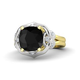Cushion Black Onyx 14K Yellow Gold Ring with Diamond