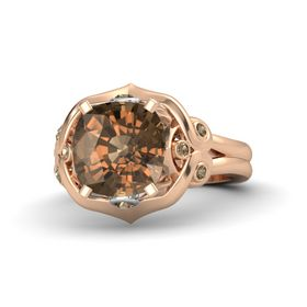 Cushion Smoky Quartz 18K Rose Gold Ring with Smoky Quartz