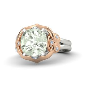 Cushion Green Amethyst 18K White Gold Ring with Diamond