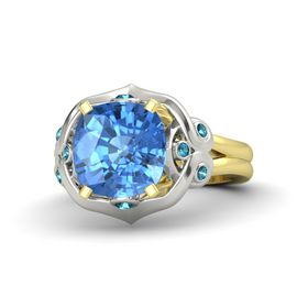 Cushion Blue Topaz 18K Yellow Gold Ring with London Blue Topaz
