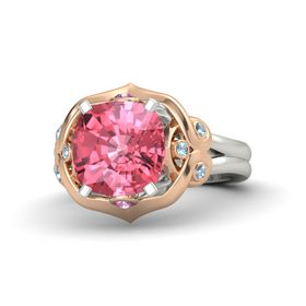 Cushion Pink Tourmaline Palladium Ring with Pink Sapphire and Aquamarine