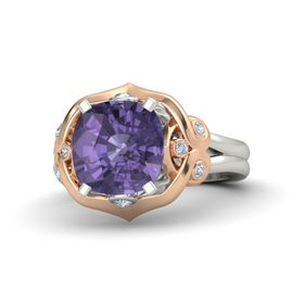 Cushion Iolite Palladium Ring with Diamond