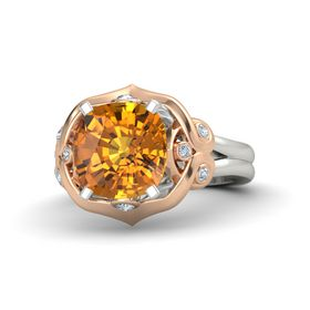 Cushion Citrine Platinum Ring with Diamond
