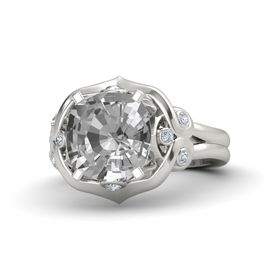 Cushion Rock Crystal Platinum Ring with Diamond