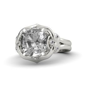 Cushion Rock Crystal Platinum Ring with Rock Crystal