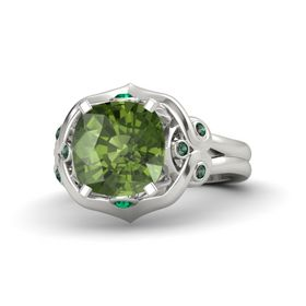 Cushion Green Tourmaline Platinum Ring with Emerald and Alexandrite