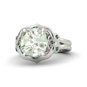 Cushion Green Amethyst Platinum Ring with Alexandrite
