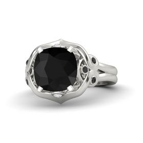 Cushion Black Onyx Platinum Ring with White Sapphire and Black Diamond