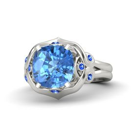 Cushion Blue Topaz Platinum Ring with Blue Sapphire