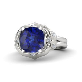Cushion Blue Sapphire Sterling Silver Ring with Diamond