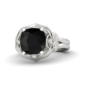 Cushion Black Onyx Sterling Silver Ring with White Sapphire