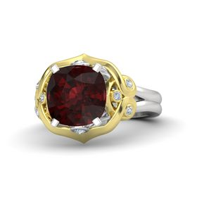Cushion Red Garnet Sterling Silver Ring with Diamond