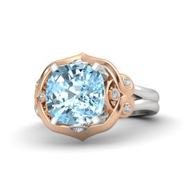 Cushion Aquamarine Sterling Silver Ring with Diamond