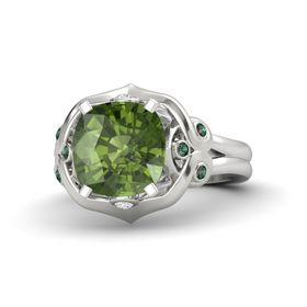 Cushion Green Tourmaline Sterling Silver Ring with White Sapphire and Alexandrite