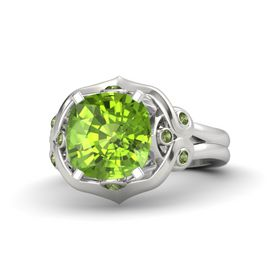 Cushion Peridot Sterling Silver Ring with Green Tourmaline