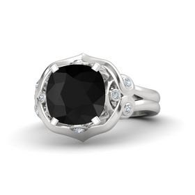 Cushion Black Onyx Sterling Silver Ring with Diamond
