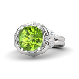 Cushion Peridot Sterling Silver Ring with Diamond