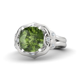 Cushion Green Tourmaline Sterling Silver Ring with Diamond
