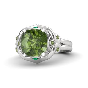Cushion Green Tourmaline Sterling Silver Ring with Emerald and Green Tourmaline