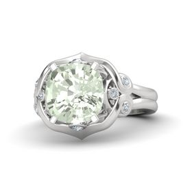 Cushion Green Amethyst Sterling Silver Ring with Diamond