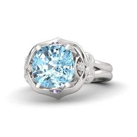 Cushion Aquamarine Sterling Silver Ring with Iolite and White Sapphire