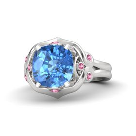 Cushion Blue Topaz Sterling Silver Ring with Pink Tourmaline
