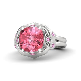 Cushion Pink Tourmaline Sterling Silver Ring with Pink Tourmaline and Pink Sapphire