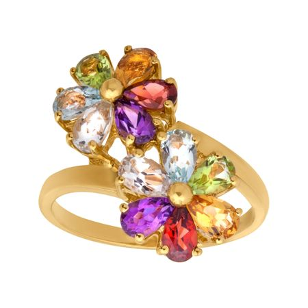 2 7/8 ct Multi-Stone Flower Ring