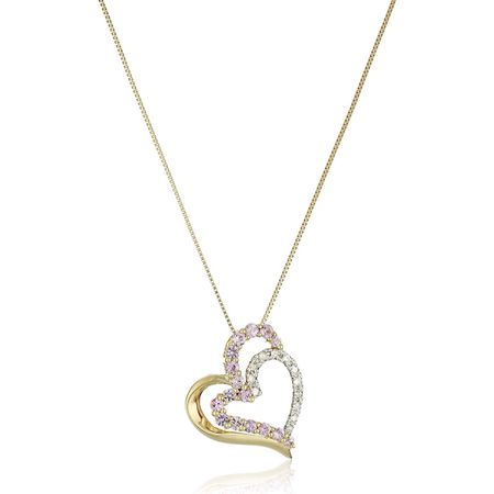 Pink Sapphire Double Heart Pendant with Diamonds