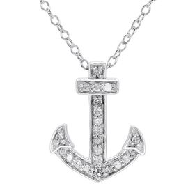 1/10 ct Diamond Anchor Pendant