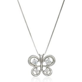 Butterfly Pendant with Cubic Zirconia