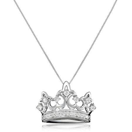 1 4 Ct Diamond Crown Pendant In 10k
