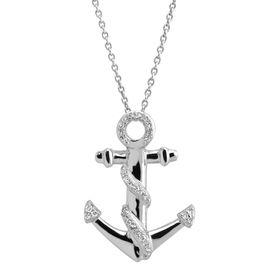 1/10 ct Diamond Anchor Twist Pendant
