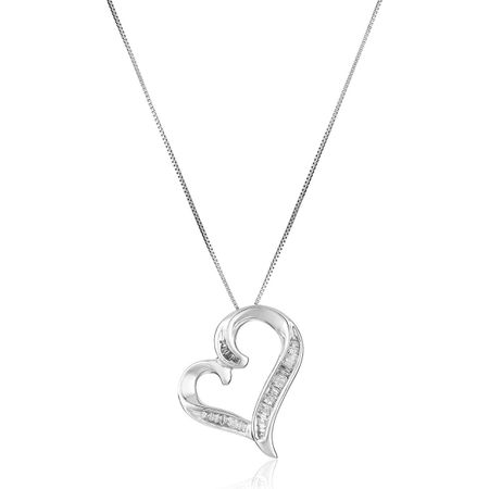 1/4 ct Diamond Swirled Heart Pendant