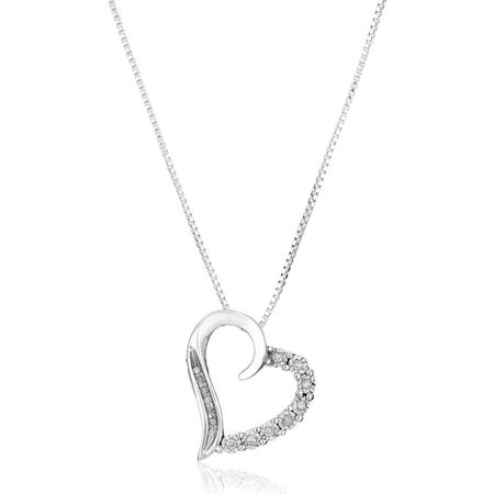1/10 ct Diamond Curved Heart Pendant