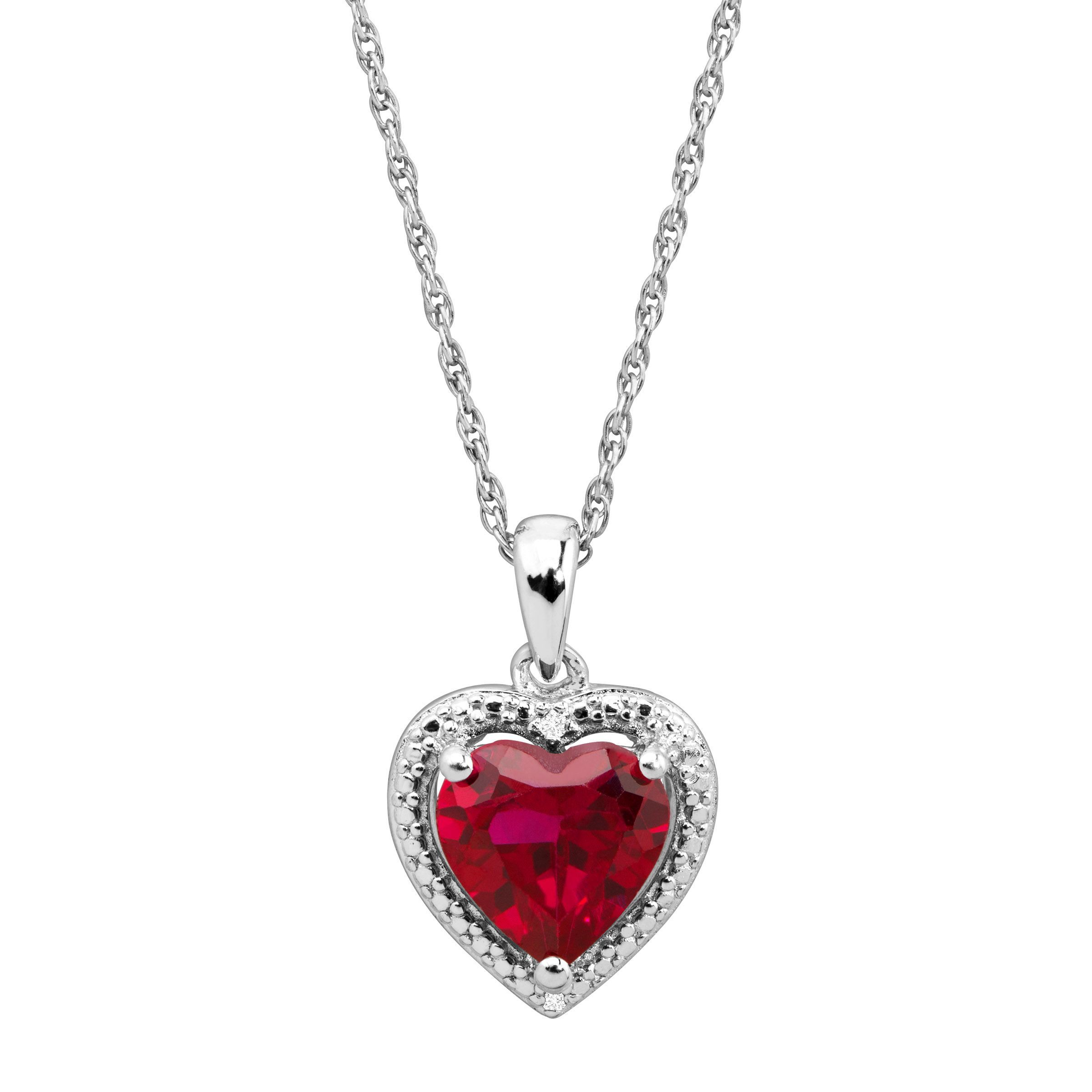 1 58 ct created ruby heart pendant with diamonds in sterling silver 1 58 ct created ruby heart pendant with diamonds in sterling silver aloadofball Image collections