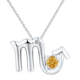 Citrine Scorpio Pendant with Diamond