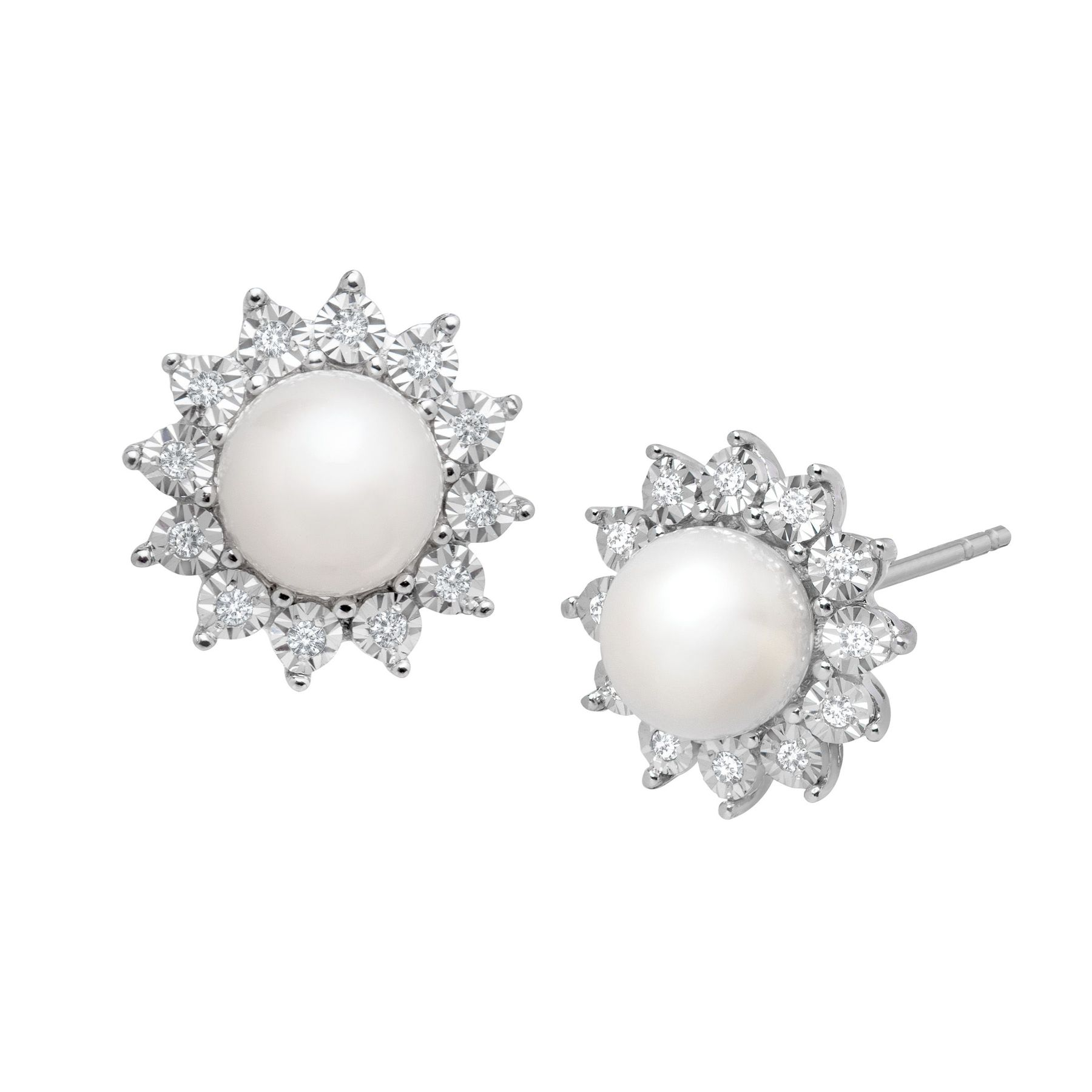 Pearl 1 8 Ct Diamond Stud Earrings