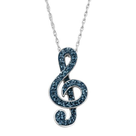 Treble Clef Pendant with Crystals