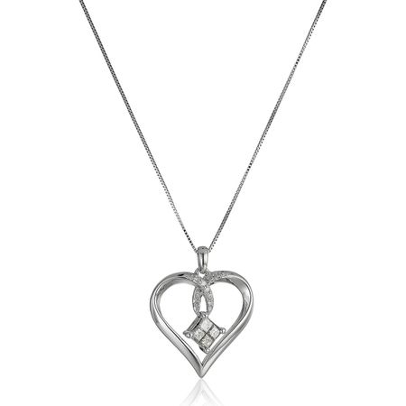 1/4 ct Diamond Floating Heart Pendant